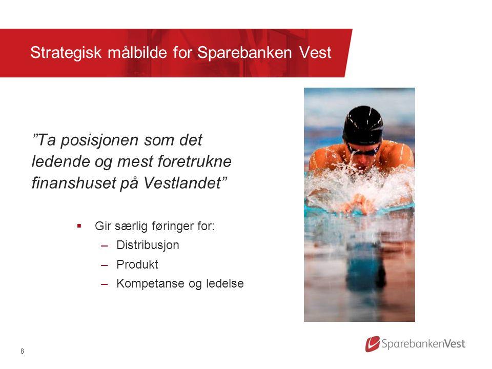 """8 Strategisk målbilde for Sparebanken Vest """"Ta posisjonen som det ledende og mest foretrukne finanshuset på Vestlandet""""  Gir særlig føringer for: –Di"""
