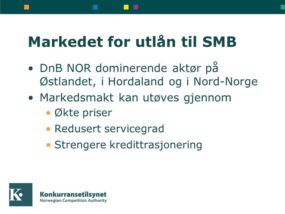 Markedet for utlån til SMB DnB NOR dominerende aktør på Østlandet, i Hordaland og i Nord-Norge Markedsmakt kan utøves gjennom Økte priser Redusert servicegrad Strengere kredittrasjonering