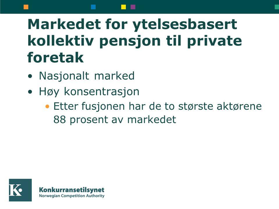Markedet for ytelsesbasert kollektiv pensjon til private foretak Nasjonalt marked Høy konsentrasjon Etter fusjonen har de to største aktørene 88 prosent av markedet