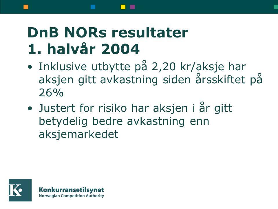 DnB NORs resultater 1. halvår 2004 Inklusive utbytte på 2,20 kr/aksje har aksjen gitt avkastning siden årsskiftet på 26% Justert for risiko har aksjen