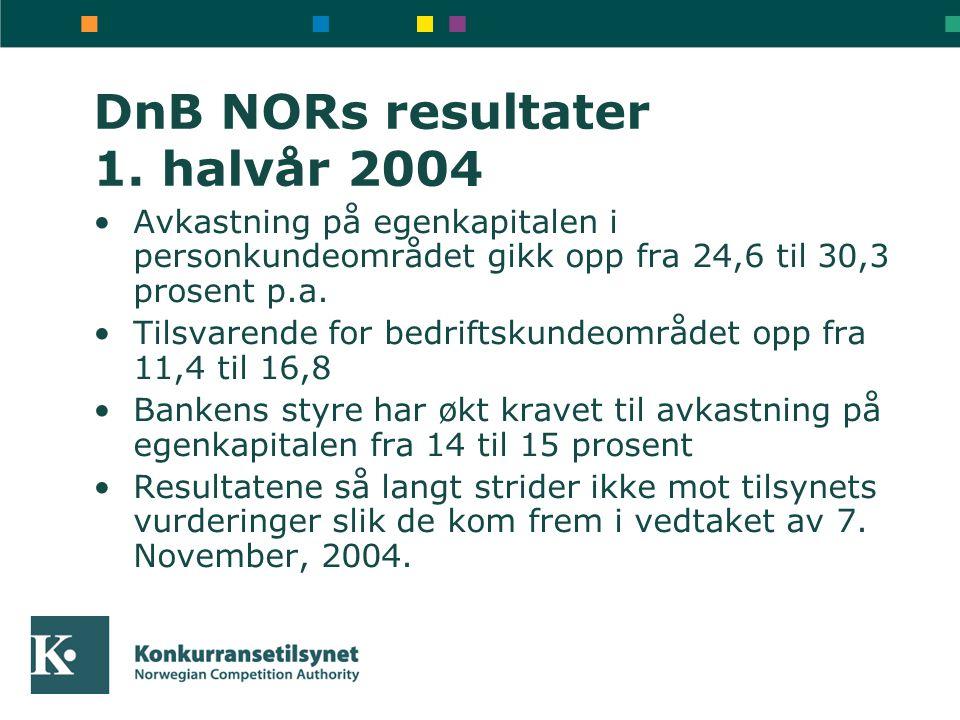 DnB NORs resultater 1. halvår 2004 Avkastning på egenkapitalen i personkundeområdet gikk opp fra 24,6 til 30,3 prosent p.a. Tilsvarende for bedriftsku