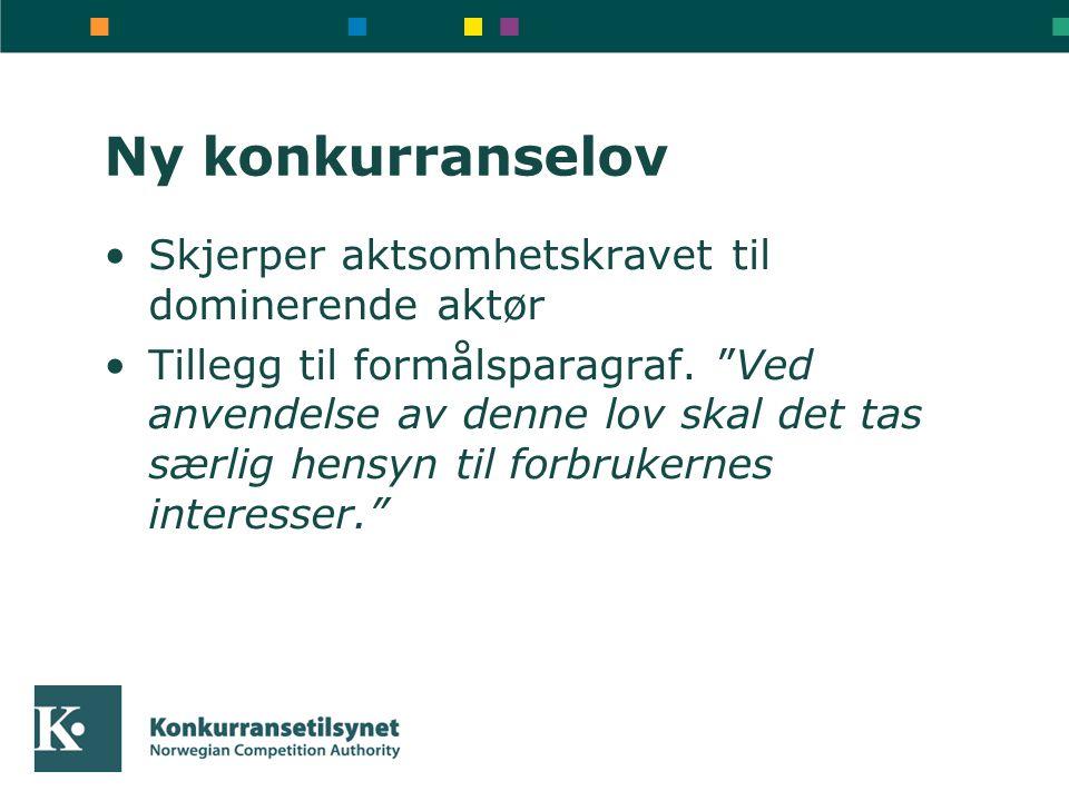 Ny konkurranselov Skjerper aktsomhetskravet til dominerende aktør Tillegg til formålsparagraf.