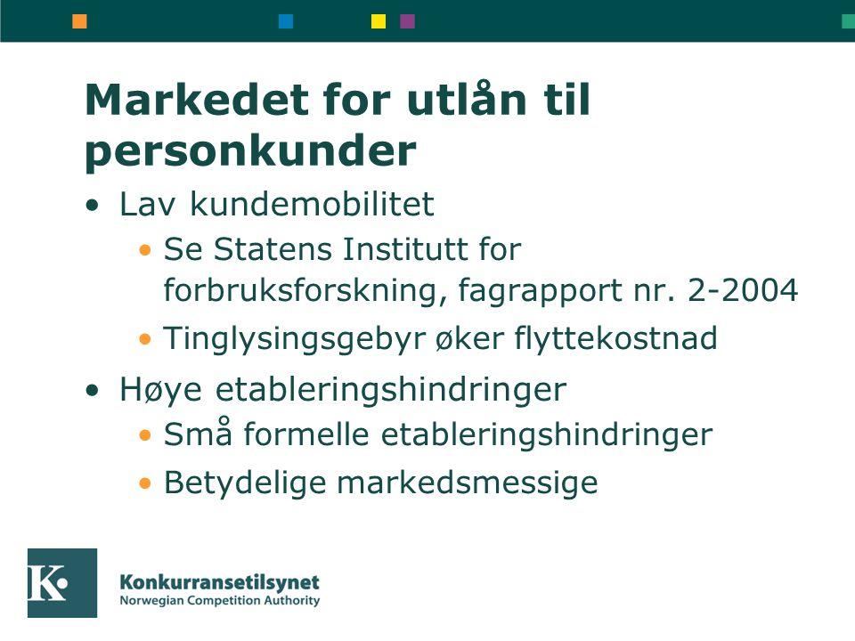 Markedet for utlån til personkunder Lav kundemobilitet Se Statens Institutt for forbruksforskning, fagrapport nr.