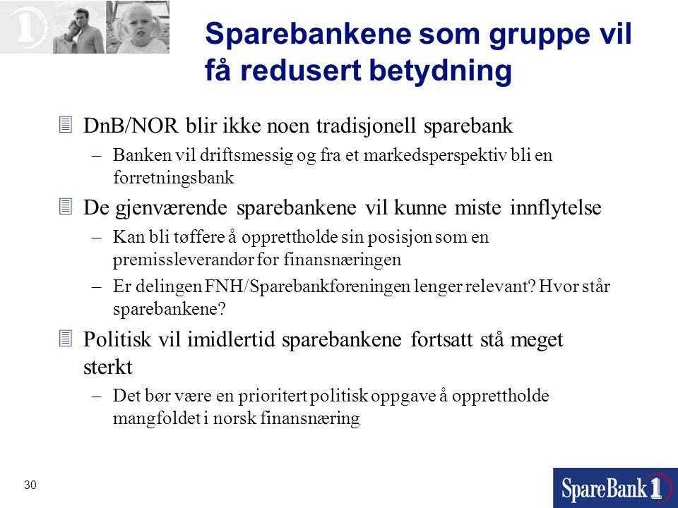 30 Sparebankene som gruppe vil få redusert betydning 3DnB/NOR blir ikke noen tradisjonell sparebank –Banken vil driftsmessig og fra et markedsperspekt