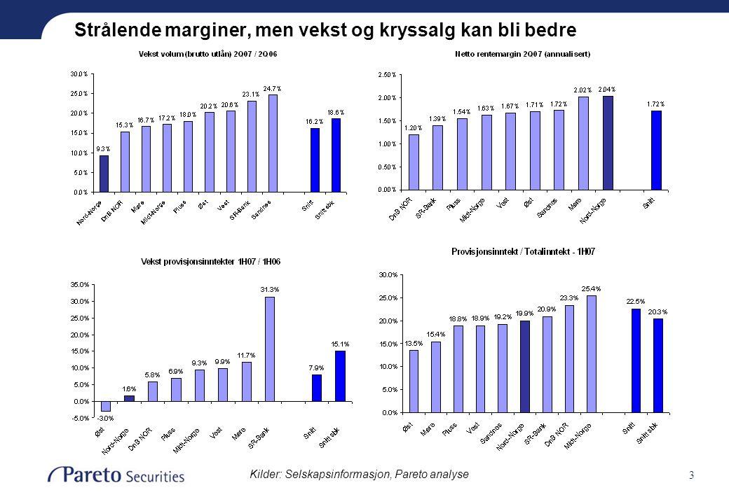 3 Strålende marginer, men vekst og kryssalg kan bli bedre Kilder: Selskapsinformasjon, Pareto analyse