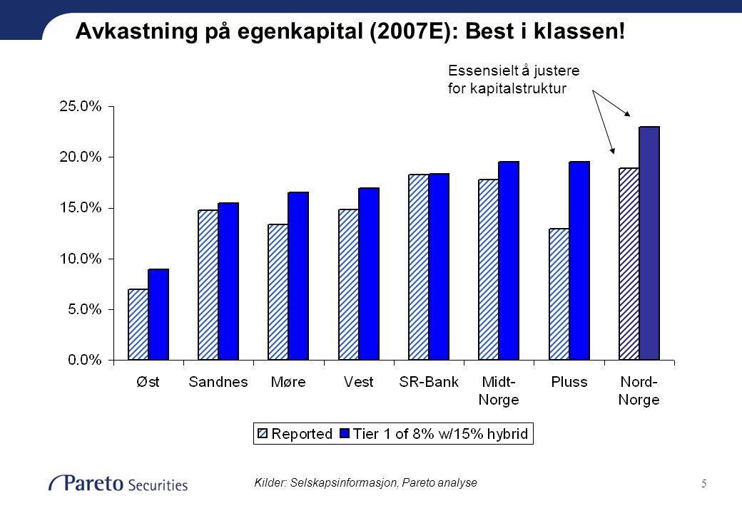 5 Avkastning på egenkapital (2007E): Best i klassen! Essensielt å justere for kapitalstruktur Kilder: Selskapsinformasjon, Pareto analyse
