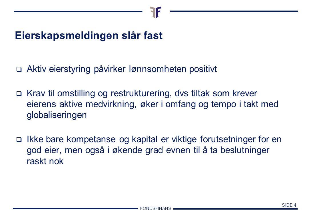 FONDSFINANS SIDE 3 Statlig eierskap  Hovedtyngden av sparingen i det norske samfunn skjer hos staten  Staten eier i dag 39 % av verdiene på Oslo Børs.