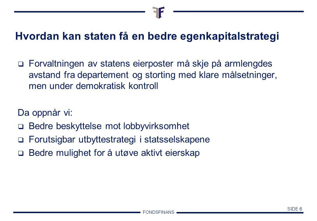 FONDSFINANS SIDE 5 Investorkarakteristika Memo: 80% av eierne ved Oslo Børs vil ikke ha styreansvar