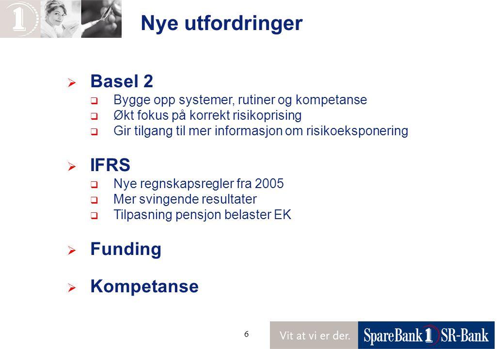 6 Nye utfordringer  Basel 2  Bygge opp systemer, rutiner og kompetanse  Økt fokus på korrekt risikoprising  Gir tilgang til mer informasjon om risikoeksponering  IFRS  Nye regnskapsregler fra 2005  Mer svingende resultater  Tilpasning pensjon belaster EK  Funding  Kompetanse