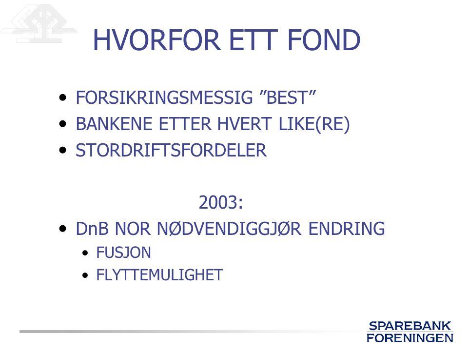 HVORFOR ETT FOND FORSIKRINGSMESSIG BEST BANKENE ETTER HVERT LIKE(RE) STORDRIFTSFORDELER 2003: DnB NOR NØDVENDIGGJØR ENDRING FUSJON FLYTTEMULIGHET