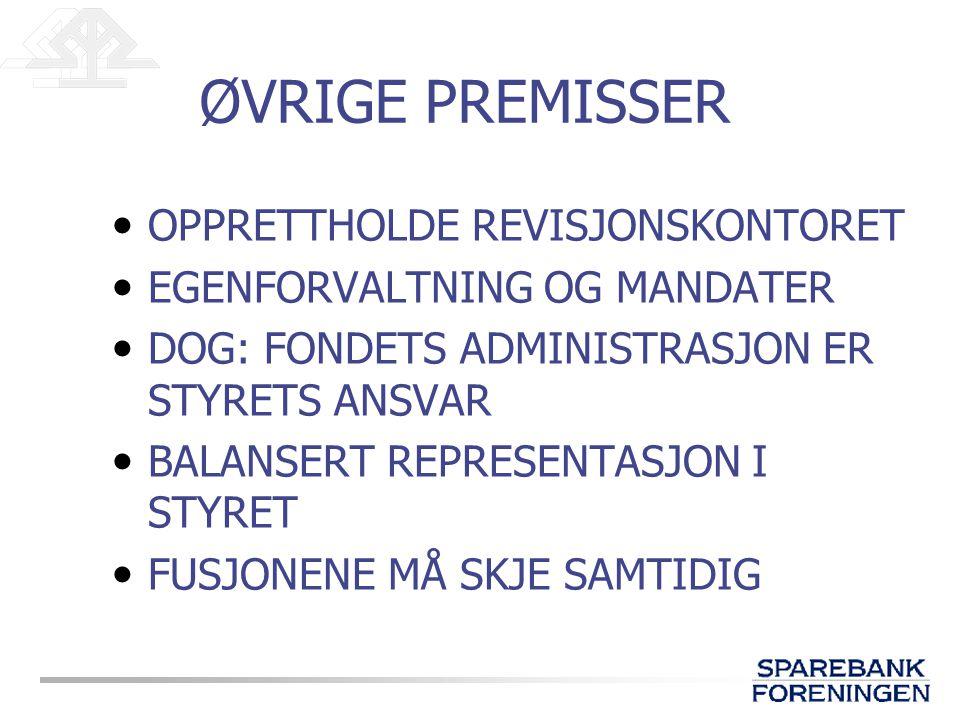 ØVRIGE PREMISSER OPPRETTHOLDE REVISJONSKONTORET EGENFORVALTNING OG MANDATER DOG: FONDETS ADMINISTRASJON ER STYRETS ANSVAR BALANSERT REPRESENTASJON I STYRET FUSJONENE MÅ SKJE SAMTIDIG