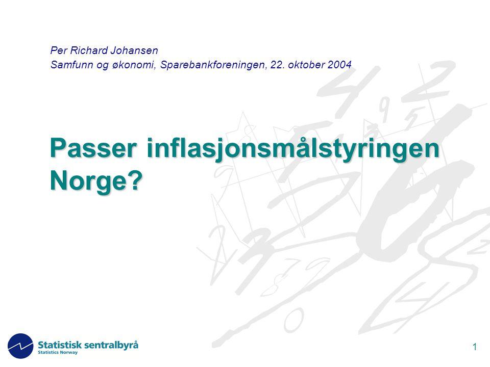 1 Passer inflasjonsmålstyringen Norge.
