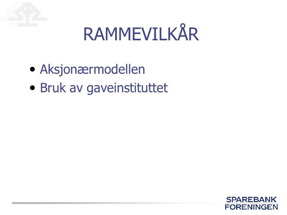 RAMMEVILKÅR Aksjonærmodellen Bruk av gaveinstituttet