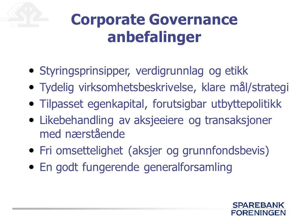 Styringsprinsipper, verdigrunnlag og etikk Tydelig virksomhetsbeskrivelse, klare mål/strategi Tilpasset egenkapital, forutsigbar utbyttepolitikk Likeb