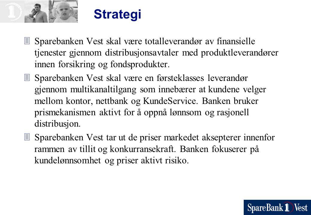 Strategi 3Sparebanken Vest skal være totalleverandør av finansielle tjenester gjennom distribusjonsavtaler med produktleverandører innen forsikring og fondsprodukter.