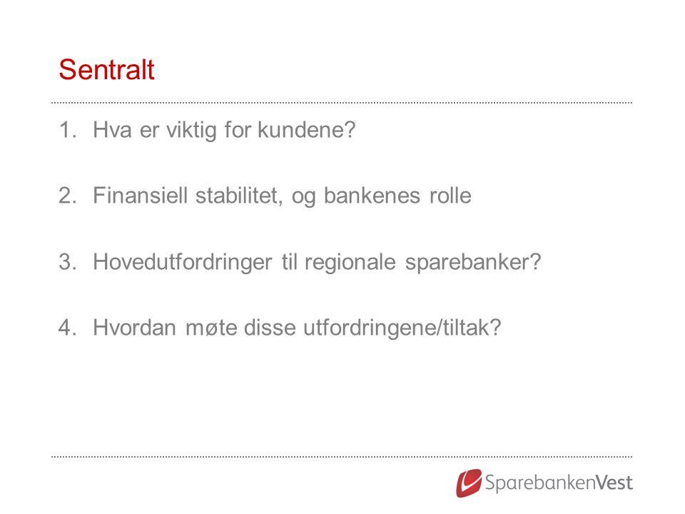 Sentralt 1.Hva er viktig for kundene? 2.Finansiell stabilitet, og bankenes rolle 3.Hovedutfordringer til regionale sparebanker? 4.Hvordan møte disse u