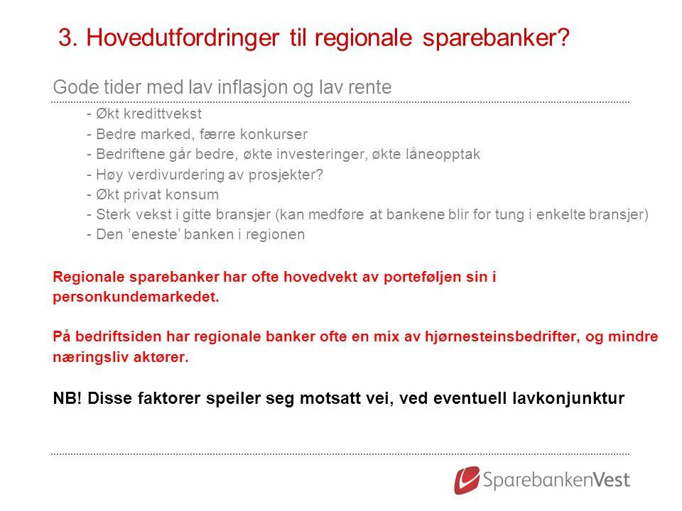 3. Hovedutfordringer til regionale sparebanker? Gode tider med lav inflasjon og lav rente - Økt kredittvekst - Bedre marked, færre konkurser - Bedrift