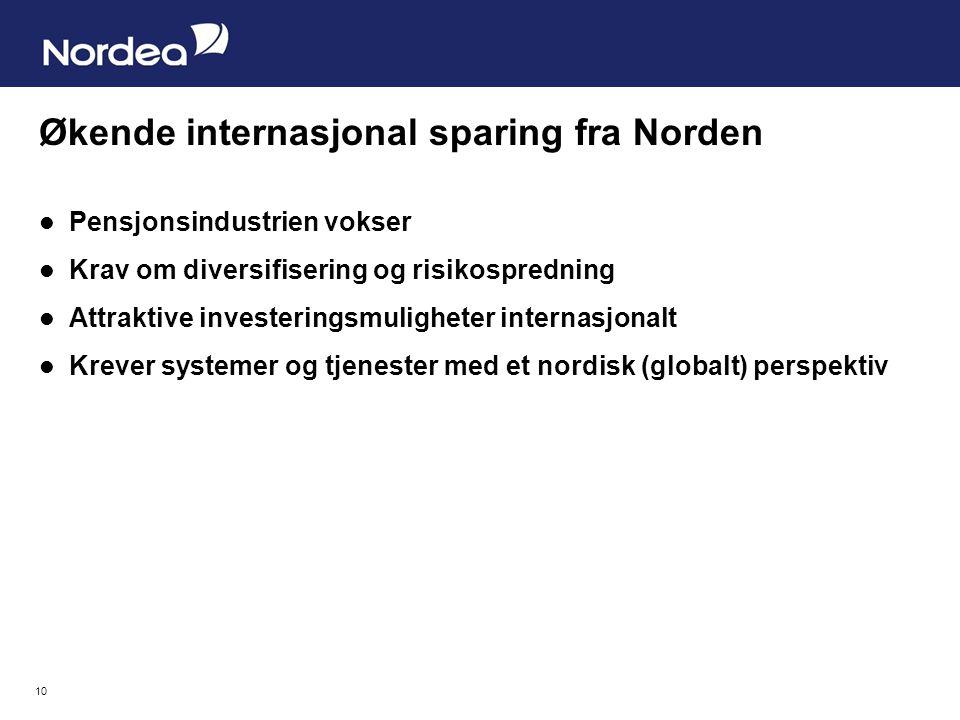 10 Økende internasjonal sparing fra Norden Pensjonsindustrien vokser Krav om diversifisering og risikospredning Attraktive investeringsmuligheter internasjonalt Krever systemer og tjenester med et nordisk (globalt) perspektiv