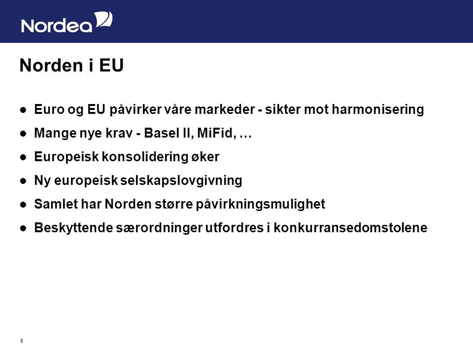 8 Norden i EU Euro og EU påvirker våre markeder - sikter mot harmonisering Mange nye krav - Basel II, MiFid, … Europeisk konsolidering øker Ny europeisk selskapslovgivning Samlet har Norden større påvirkningsmulighet Beskyttende særordninger utfordres i konkurransedomstolene