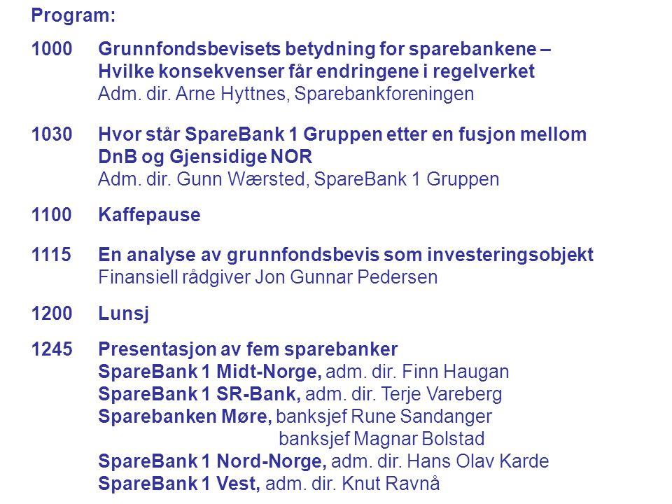 Program: 1000 Grunnfondsbevisets betydning for sparebankene – Hvilke konsekvenser får endringene i regelverket Adm.