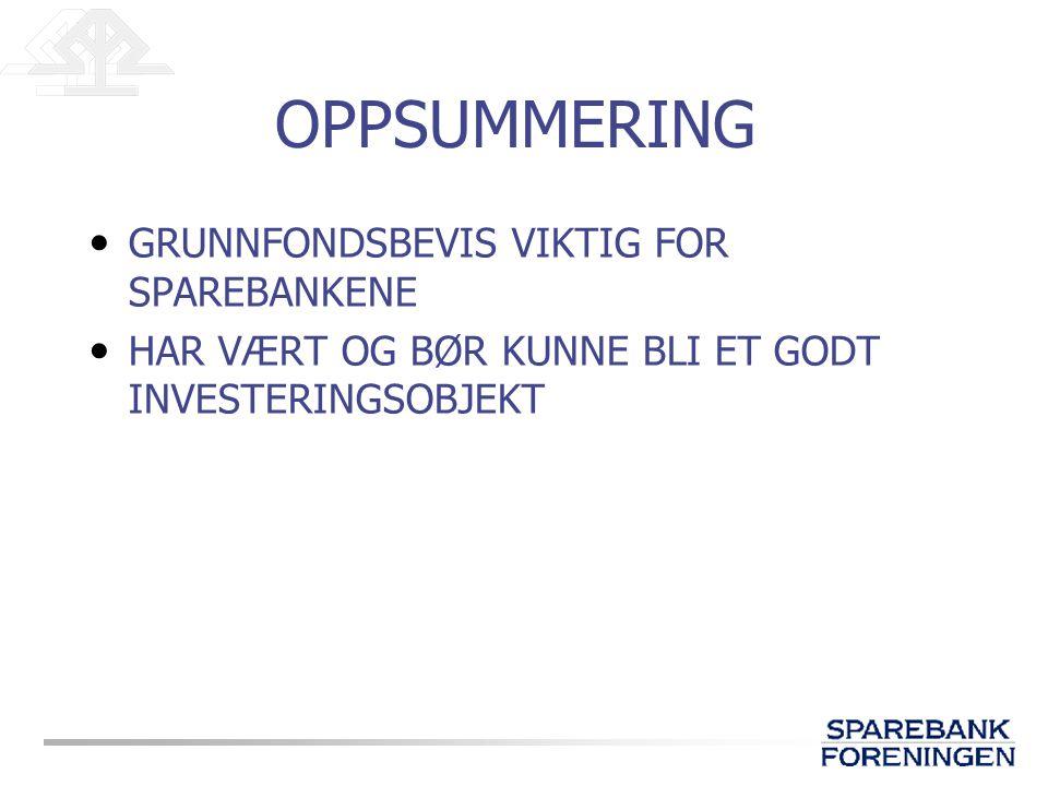 OPPSUMMERING GRUNNFONDSBEVIS VIKTIG FOR SPAREBANKENE HAR VÆRT OG BØR KUNNE BLI ET GODT INVESTERINGSOBJEKT