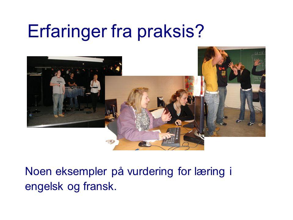 Erfaringer fra praksis? Noen eksempler på vurdering for læring i engelsk og fransk.
