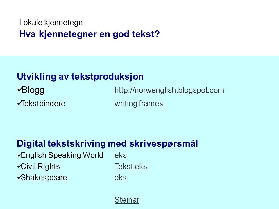 Utvikling av tekstproduksjon Blogg http://norwenglish.blogspot.com http://norwenglish.blogspot.com Tekstbinderewriting frameswriting frames Digital te