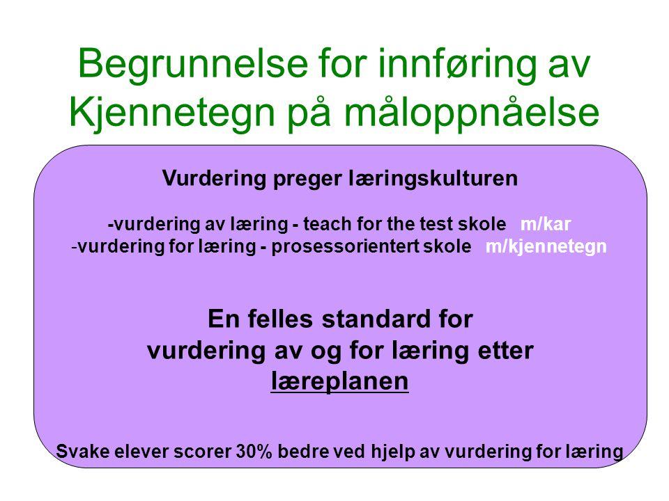 Begrunnelse for innføring av Kjennetegn på måloppnåelse Lærere vurderer i for stor grad ut fra subjektive kriterier og i for liten grad ut fra faglige standarder.