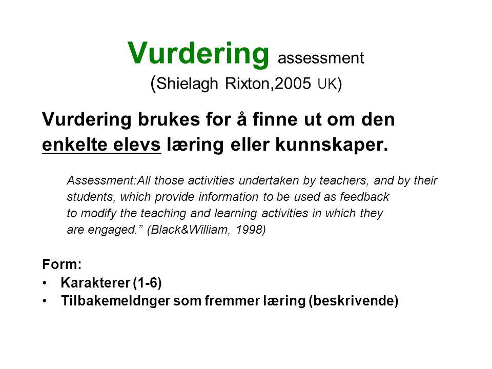 Vurdering assessment ( Shielagh Rixton,2005 UK ) Vurdering brukes for å finne ut om den enkelte elevs læring eller kunnskaper.