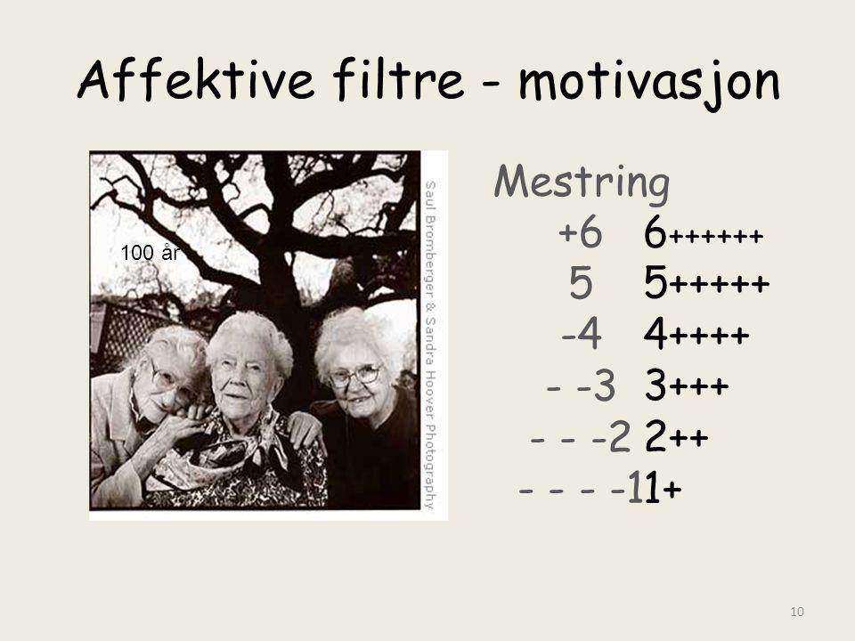 Affektive filtre - motivasjon Mestring +6 5 -4 - -3 - - -2 - - - -1 100 år 10 6 ++++++ 5+++++ 4++++ 3+++ 2++ 1+