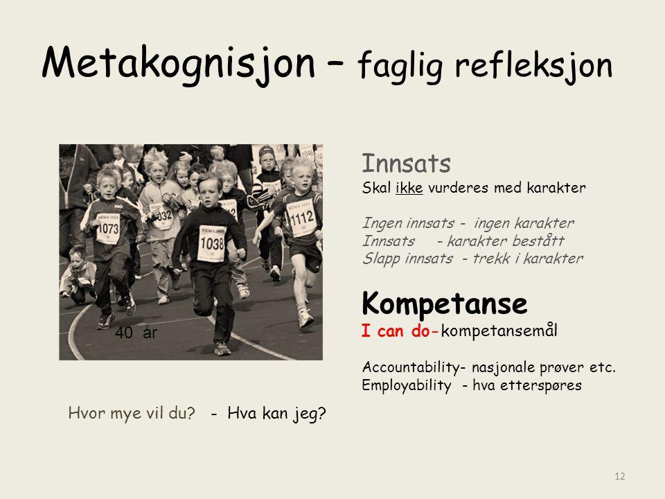 Metakognisjon – faglig refleksjon Innsats Skal ikke vurderes med karakter Ingen innsats - ingen karakter Innsats - karakter bestått Slapp innsats - tr