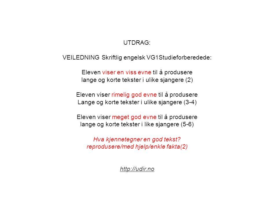 UTDRAG: VEILEDNING Skriftlig engelsk VG1Studieforberedede: Eleven viser en viss evne til å produsere lange og korte tekster i ulike sjangere (2) Eleve