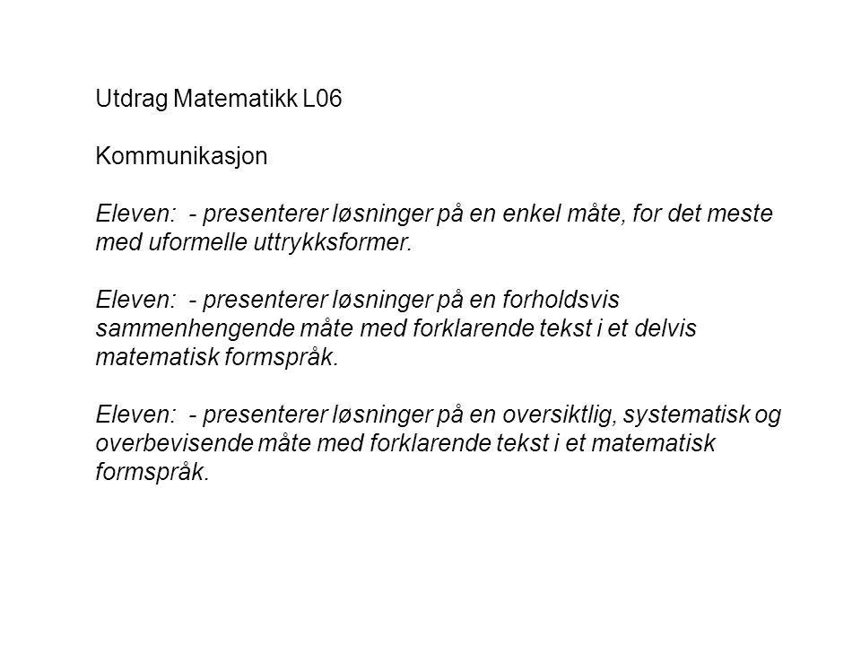 Utdrag Matematikk L06 Kommunikasjon Eleven: - presenterer løsninger på en enkel måte, for det meste med uformelle uttrykksformer. Eleven: - presentere