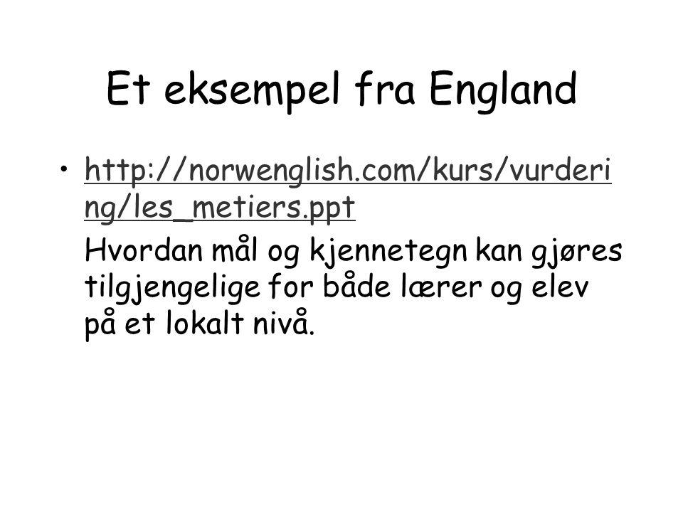 Et eksempel fra England http://norwenglish.com/kurs/vurderi ng/les_metiers.ppthttp://norwenglish.com/kurs/vurderi ng/les_metiers.ppt Hvordan mål og kj