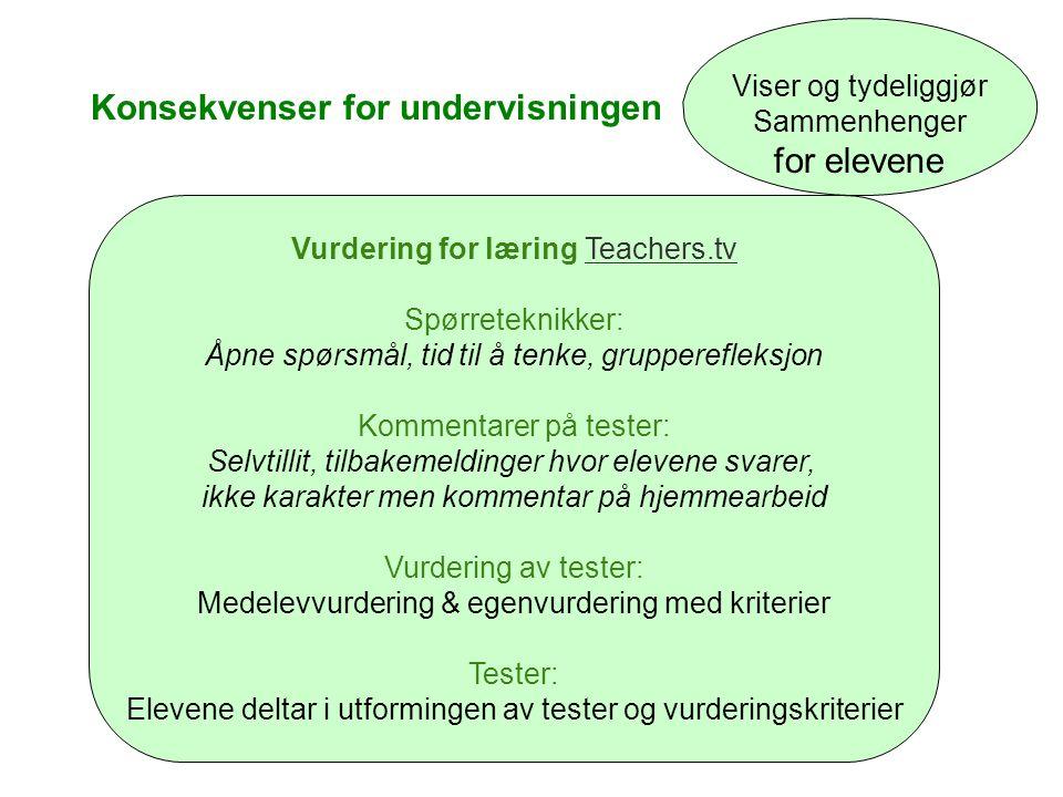 Konsekvenser for undervisningen Viser og tydeliggjør Sammenhenger for elevene Vurdering for læring Teachers.tvTeachers.tv Spørreteknikker: Åpne spørsm
