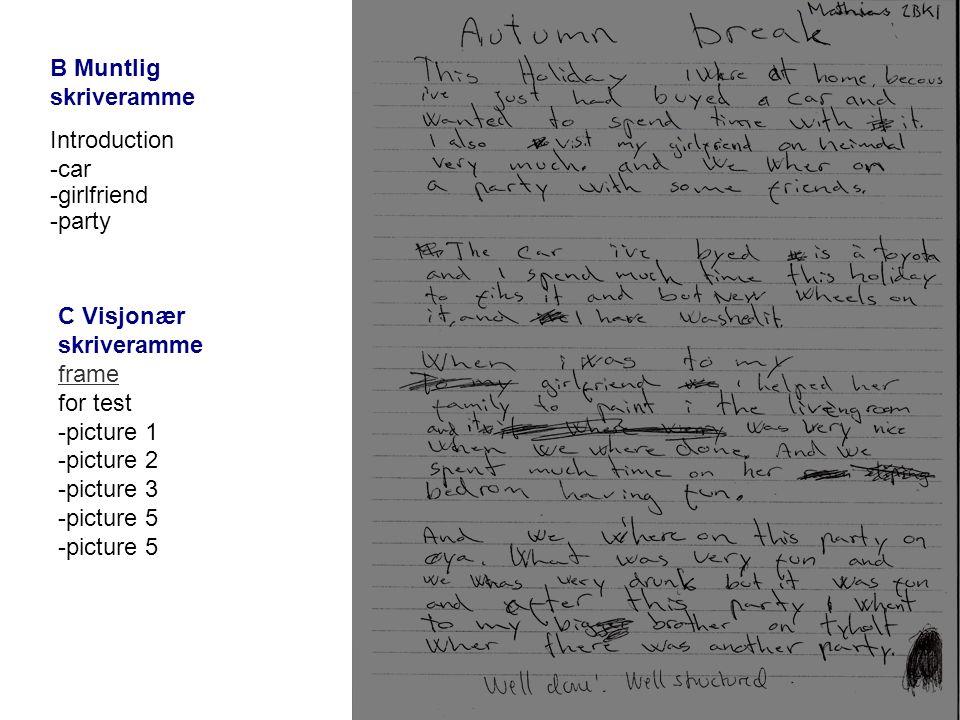 B Muntlig skriveramme Introduction -car -girlfriend -party C Visjonær skriveramme frame for test -picture 1 -picture 2 -picture 3 -picture 5