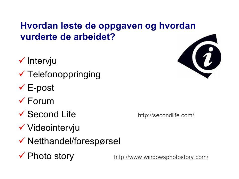 Hvordan løste de oppgaven og hvordan vurderte de arbeidet? Intervju Telefonoppringing E-post Forum Second Life http://secondlife.com/ http://secondlif