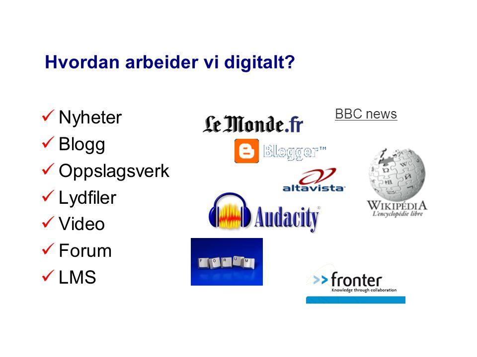 Hvordan arbeider vi digitalt? Nyheter Blogg Oppslagsverk Lydfiler Video Forum LMS BBC news