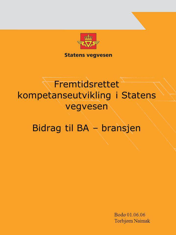 Fremtidsrettet kompetanseutvikling i Statens vegvesen Bidrag til BA – bransjen Bodø 01.06.06 Torbjørn Naimak