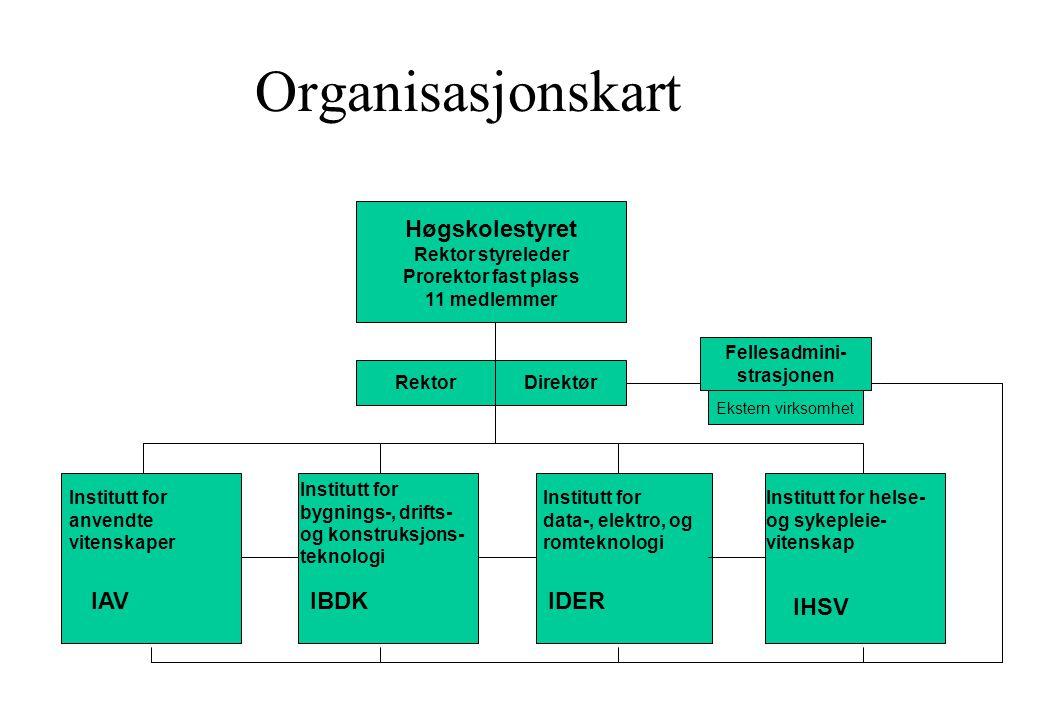 Organisasjonskart Høgskolestyret Rektor styreleder Prorektor fast plass 11 medlemmer RektorDirektør Institutt for bygnings-, drifts- og konstruksjons-