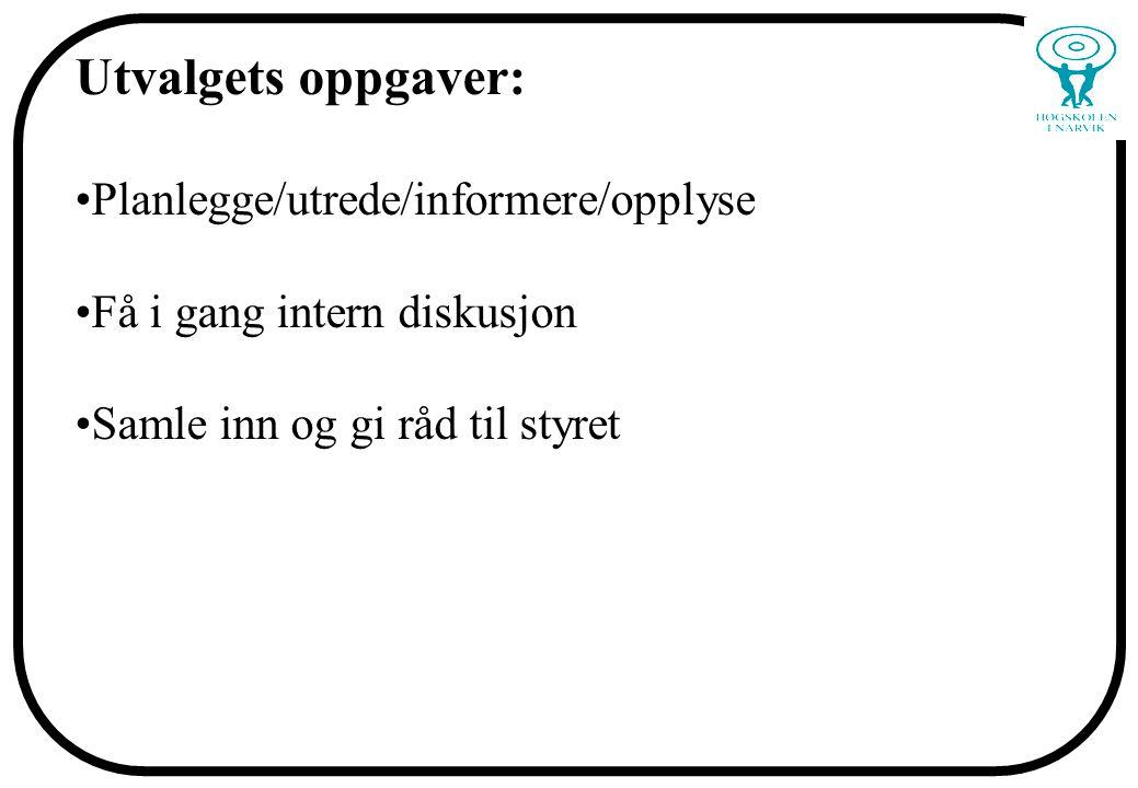 Utvalgets oppgaver: Planlegge/utrede/informere/opplyse Få i gang intern diskusjon Samle inn og gi råd til styret