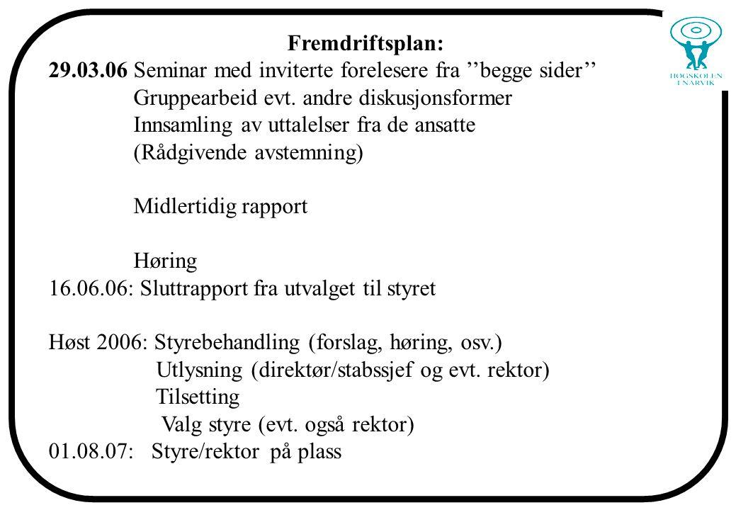 Fremdriftsplan: 29.03.06 Seminar med inviterte forelesere fra ''begge sider'' Gruppearbeid evt.