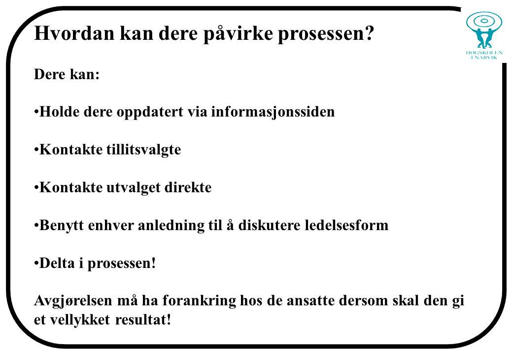 Se også: www.hin.no->Om høgskolen->Alternative ledelsesformer http://www.hin.no/index.php?ID=2439