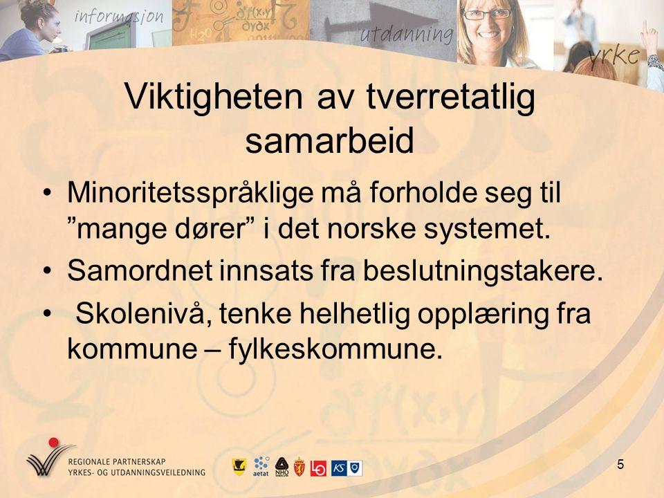 5 Viktigheten av tverretatlig samarbeid Minoritetsspråklige må forholde seg til mange dører i det norske systemet.