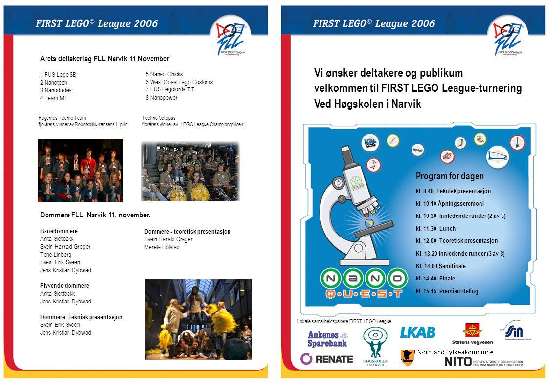 Tidsplan for FIRST LEGO League-turnering ved Høgskolen i Narvik 0800:0900Lagene ankommer turneringsområdet - innsjekking.