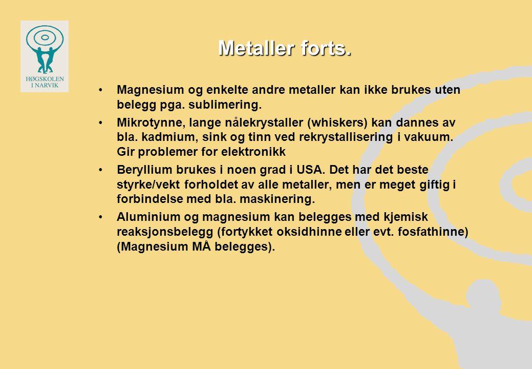 Metaller forts. Magnesium og enkelte andre metaller kan ikke brukes uten belegg pga. sublimering. Mikrotynne, lange nålekrystaller (whiskers) kan dann