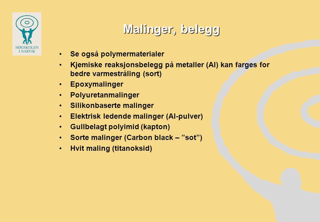Malinger, belegg Se også polymermaterialer Kjemiske reaksjonsbelegg på metaller (Al) kan farges for bedre varmestråling (sort) Epoxymalinger Polyureta