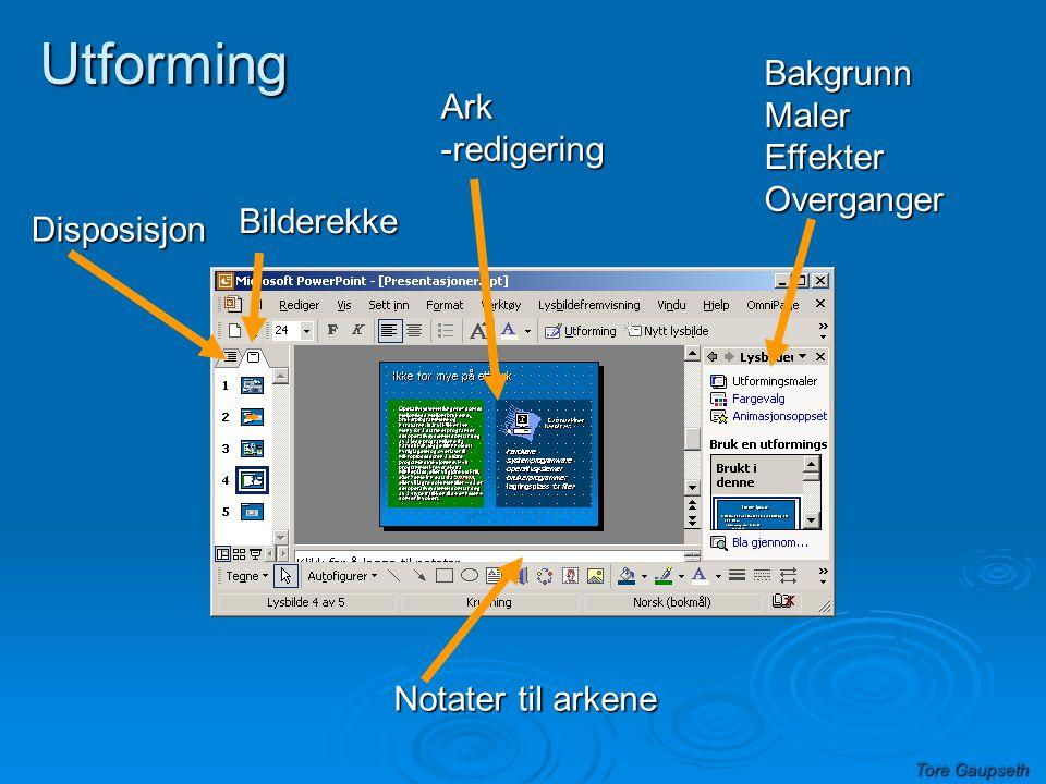 Tore Gaupseth Utforming Disposisjon Bilderekke Bilderekke BakgrunnMalerEffekterOverganger Ark-redigering Notater til arkene