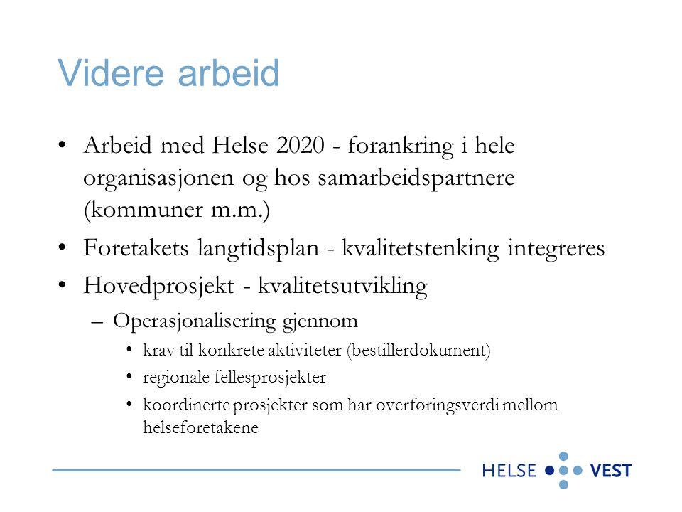 Videre arbeid Arbeid med Helse 2020 - forankring i hele organisasjonen og hos samarbeidspartnere (kommuner m.m.) Foretakets langtidsplan - kvalitetste