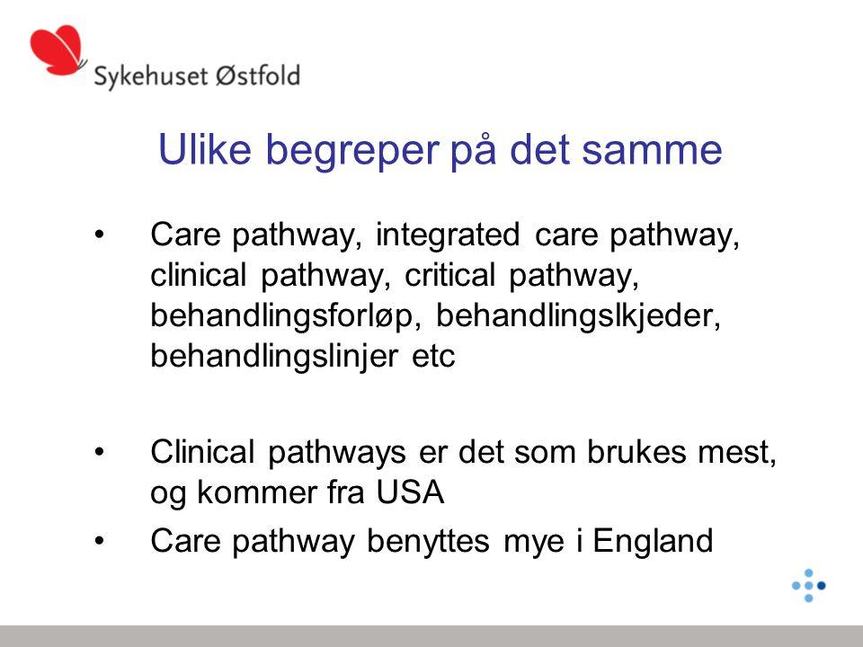 Ulike begreper på det samme Care pathway, integrated care pathway, clinical pathway, critical pathway, behandlingsforløp, behandlingslkjeder, behandli